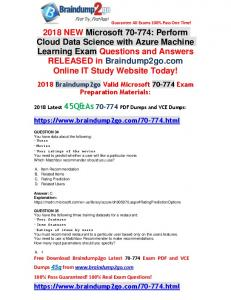 2018 Braindump2go New 70-774 Dumps PDF and 70-774 Dumps VCE 45Q Free Offer(34-48)
