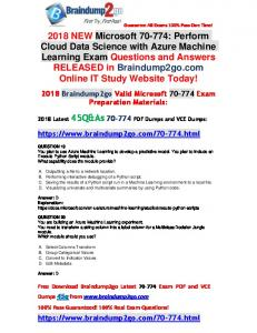 2018 Braindump2go New 70-774 Dumps VCE and 70-774 Dumps PDF 45Q Free Offer(19-26)