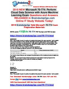 2018 Braindump2go New 70-774 Dumps with PDF and VCE 45Q Free Offer(1-11)