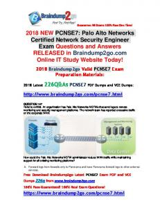 2018 Braindump2go New PCNSE7 Dumps PDF 226Q(Q147-Q160)
