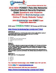 2018 Braindump2go New PCNSE7 PDF and VCE Dumps 226Q(Q120-Q130)