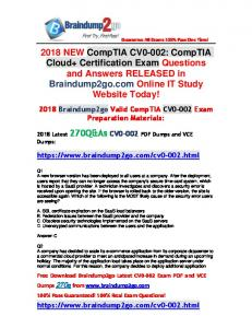 2018 New Braindump2go CV0-002 Dumps with PDF and VCE 270Q&As Free Share(1-10)