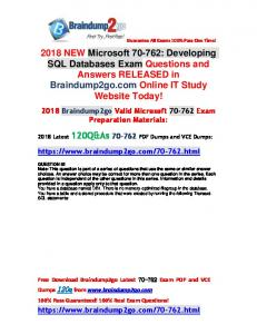 2018 Valid Braindump2go 70-762 Dumps PDF 120Q&As Full Version(82-92)