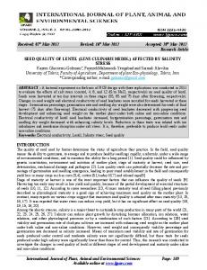 20th Mar-2012 Research Article SEED QUALITY OF LENTIL (LENS CUL
