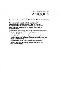 210Kb - Warwick WRAP - University of Warwick