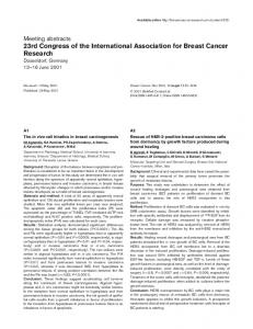 23rd Congress of the International Association for Breast Cancer