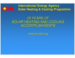 25 YEARS OF SOLAR HEATING AND COOLING ...