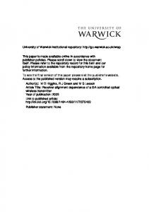 2541Kb - Warwick WRAP - University of Warwick