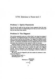 2.710: Solutions to Home work 1 - MIT
