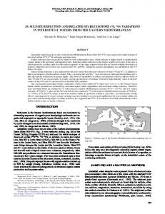 29. sulfate reduction and related stable isotope - CiteSeerX