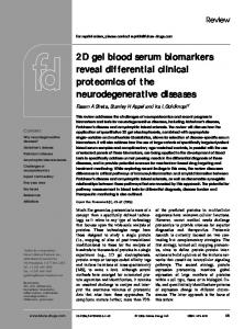2D gel blood serum biomarkers reveal differential clinical proteomics ...