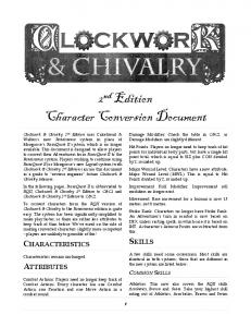 2nd Edition Character Conversion Document - Clockwork and Chivalry