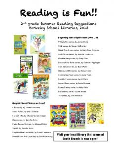 2nd grade summer reading 2013