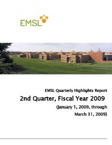 2nd Quarter, Fiscal Year 2009 - Pacific Northwest National Laboratory