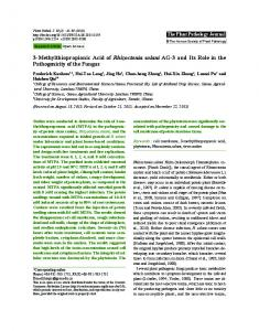 3-Methylthiopropionic Acid of Rhizoctonia solani ... - Semantic Scholar