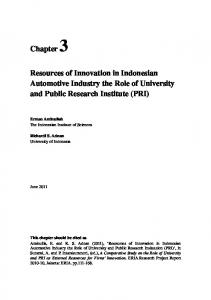 3. Resources of Innovation in Indonesian Automotive Industry the ...