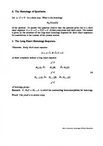 3. The Homology of Quotients. 1. The Long Exact Homology ...