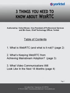 3 THINGS YOU NEED TO KNOW ABOUT WEBRTC - Yorktel