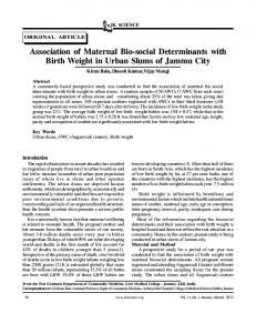 30 Association of Maternal Bio-social Determinants with ... - JK Science