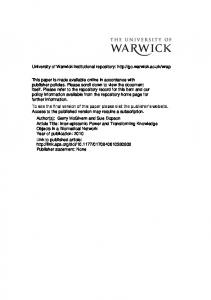 308Kb - Warwick WRAP - University of Warwick