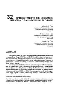 32 understanding the exchange intention of an individual blogger