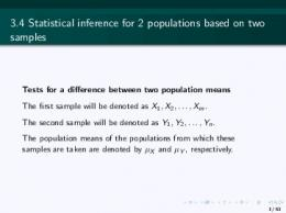 3.4 Statistical inference for 2 populations based on two samples