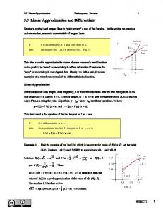 3.9 Linear Approximation and Differentials