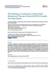 3D Printing of Continuous Carbon Fibre Reinforced Thermo-Plastic ...