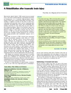 4: Rehabilitation after traumatic brain injury - The Medical Journal of ...