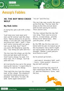 40. THE BOY WHO CRIED WOLF By Rob John - BBC