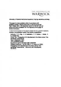 449Kb - Warwick WRAP - University of Warwick