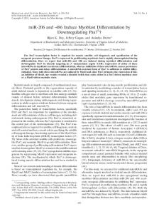 486 Induce Myoblast Differentiation by Downregulating Pax7
