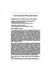 5-axis High Speed Milling Optimisation - arXiv