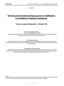 5th Annual International Symposium on Kallikreins ...