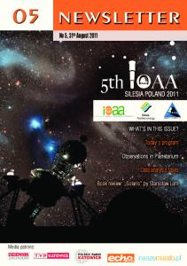 5th IOAA Newsletter no5, 31th August 2011