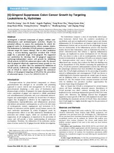 [6]-Gingerol Suppresses Colon Cancer Growth by ... - Cancer Research