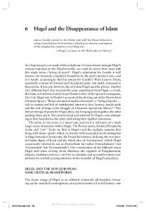 6 Hegel and the Disappearance of Islam