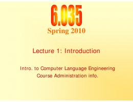 6.035 Lecture 1, Introduction - MIT