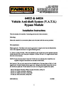 64023 & 64024 Vehicle Anti-theft System (V.A.T.S.) Bypass Module
