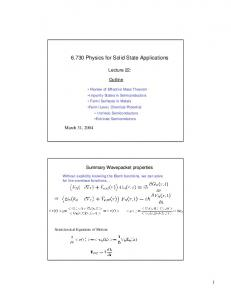 6.730 Physics for Solid State Applications - MIT