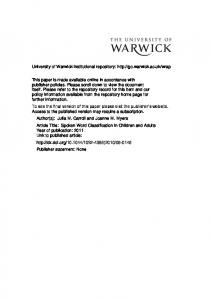691Kb - Warwick WRAP - University of Warwick