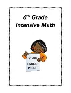 6th Grade Intensive Math - Southwood Middle School