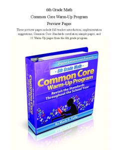 6th Grade Math Common Core Warm-Up Program Preview Pages