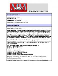 6th Grade Science Syllabus - to view website