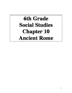 6th Grade Social Studies Chapter 10 Ancient Rome