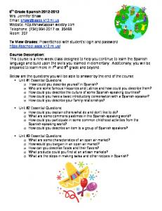 6th Grade Spanish Syllabus - Mrs. Shaw's Online Classroom - Weebly