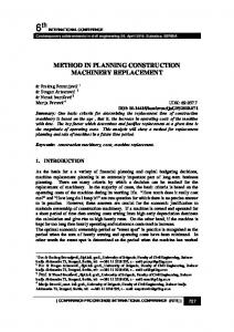 6th METHOD IN PLANNING CONSTRUCTION MACHINERY