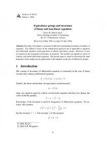 7 Invariants of linear ordinary differential equations
