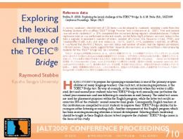 710 Exploring the lexical challenge of the TOEIC ... - JALT Publications