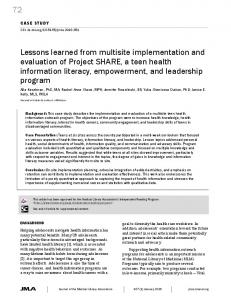 72 Lessons learned from multisite implementation and evaluation of